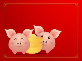 coppia carino maiale e oro su sfondo rosso