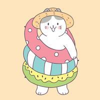 Cartone animato carino estate gatto e anello di vita vettoriale. vettore
