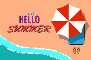 Ciao estate con il messaggio sulla spiaggia vettore