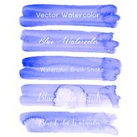 Acquerello blu del colpo della spazzola su fondo bianco. Illustrazione vettoriale