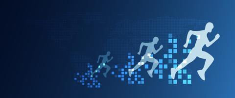 Trasformazione digitale astratta che esegue persone con velocità crescente dai pixel. Concetto di business e tecnologia. Marketing creativo digitale. Concetto di situazione di cambiamento dirompente e futuro. vettore