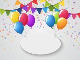 Palloncini colorati e bandiere alle feste e celebrazioni Congratulazioni festa. vettore