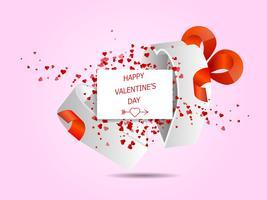 cuori felici di San Valentino che volano dalla scatola bianca dell'amore vettore
