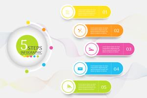 Elemento infographic del grafico di punti del modello 5 di affari di progettazione con la data del posto per le presentazioni, Vector EPS10.