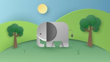 Arte di carta dell'elefante selvaggio nella foresta. Concetto di artigianato digitale e papercraft. Tema sfondo e sfondo.