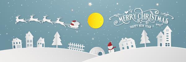 Buon Natale nevoso giorno giorno notte e felice anno nuovo blu Xmas festival fine anno partito silhouette Babbo Natale e cervi decorazione biglietto di auguri astratto sfondo. Grafica vettoriale