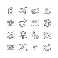 Icona di viaggi e attività. Concetto di tempo libero e sport Concetto di viaggio e di viaggio Set di icone linea sottile e contorno. Illustrazione vettoriale Insieme di segni e simboli.