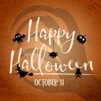Giorno felice di Halloween con l'ombra della mano della strega nella priorità bassa. Pipistrelli e elementi della ragnatela. Concetto di festa e festival. Tema fantasma e horror. Biglietto d'auguri e tema decorativo. Illustrazione vettoriale