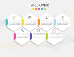 Il modello di affari di progettazione 7 fa un passo l'elemento infographic del grafico con la data del posto per le presentazioni, Vector EPS10.
