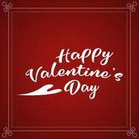 Progettazione di iscrizione di festa di San Valentino felice. Testo bianco dei biglietti di S. Valentino con la fonte di calligrafia dello script del cuore su fondo rosso. Illustrazione vettoriale. vettore