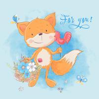 Cartolina carina piccola volpe e fiori. Stile cartone animato Vettore