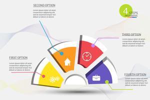 Elemento infographic del grafico di punti del modello 4 di affari di progettazione con la data del posto per le presentazioni, Vector EPS10.
