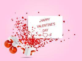 cuori felici di San Valentino che volano dalla scatola bianca vettore