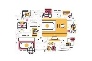 Illustrazione di pagamento online vettore