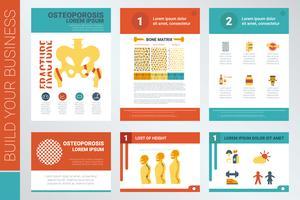Copertina del libro di relazione osteoporosi e modello di presentazione vettore