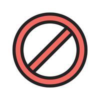 Icona con linea proibita vettore