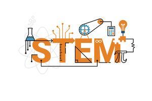Progettazione di tipografia parola STEM vettore
