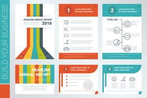 Copertina del libro di relazione annuale e modello di presentazione vettore