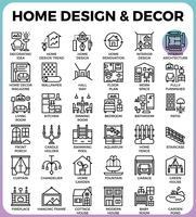 Icone Home Design and Decor vettore