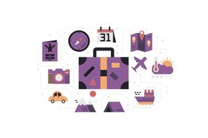 Illustrazione di concetto di icone di viaggio