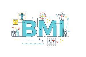 BMI: parola indice di massa corporea vettore