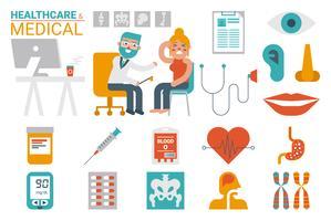 Assistenza sanitaria e infografica medica vettore
