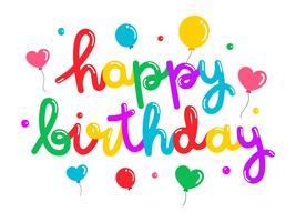 Typogrphy variopinto di buon compleanno Balloon vettore