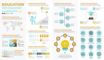 Elementi infographic di educazione scolastica vettore