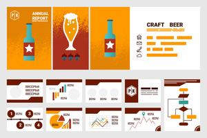 Copertina del rapporto annuale della società di birra artigianale. Foglio A4 e modello di presentazione