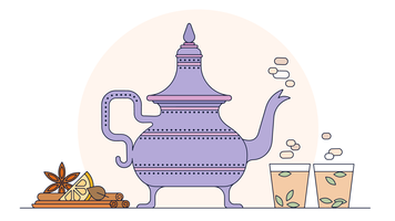 Vettore di tè indiano
