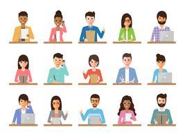 Imprenditore e imprenditrice persone in azioni. vettore