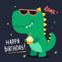 Carta di compleanno simpatico dinosauro vettore