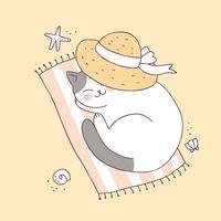 Vettore sveglio di sonno del gatto di estate del fumetto.