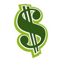 Vettore di segno verde dollaro