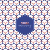 Esagoni geometrici blu e rosa astratti del modello del cubo su fondo bianco vettore