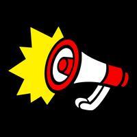Avviso per l'annuncio dell'altoparlante dell'altoparlante del megafono vettore