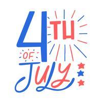 4 luglio lettering vettore