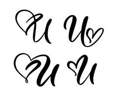 Insieme di vettore del monogramma di lettera floreale dell'annata U. Elemento di calligrafia San Valentino fiorire. Segno di cuore disegnato a mano per la decorazione della pagina e illustrazione di progettazione. Amo la carta di nozze per invito