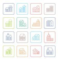 Icone della città lineare vettore