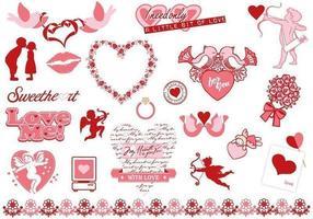 Pacchetto di elementi vettoriali di San Valentino
