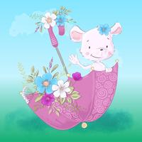 Illustrazione di un piccolo topo sveglio in un ombrello con i fiori. Disegnare a mano vettore