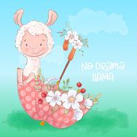 Illustrazione di un lama carino in un ombrello con fiori. Disegnare a mano vettore
