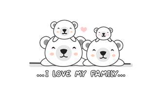 """La simpatica famiglia di simpatici orsi polari dice """"I love my family"""". vettore"""