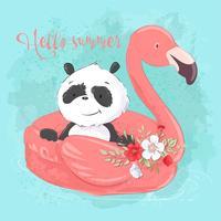 Illustrazione di un biglietto di auguri o una principessa per la camera di un bambino - un panda carino su un cerchio gonfiabile in forma di fenicotteri, illustrazione vettoriale in stile cartoon