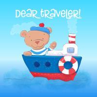 Illustrazione di un giovane marinaio dell'orso sveglio su una nave a vapore. Disegnare a mano