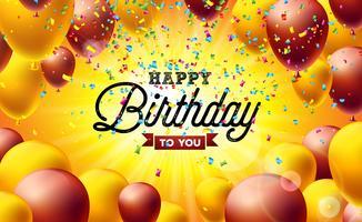 Illustrazione vettoriale di buon compleanno con palloncini, tipografia e coriandoli caduta colorati su sfondo giallo. Modello di progettazione