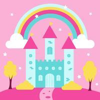 carino castello della principessa con arcobaleno e paesaggio vettore