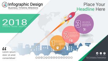Modello di infographics di affari, linea temporale di Milestone o mappa stradale con le opzioni del diagramma di flusso di processo 3. vettore