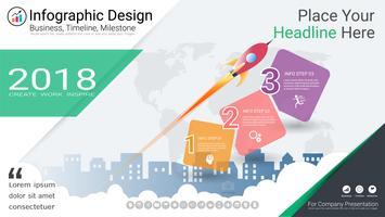 Modello di infographics di affari, linea temporale di Milestone o mappa stradale con le opzioni del diagramma di flusso di processo 3