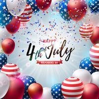 4 luglio Independence Day dell'illustrazione di vettore di USA Disegno di celebrazione nazionale americano del quarto di luglio con l'aerostato variopinto e la lettera di tipografia su priorità bassa di caduta dei coriandoli